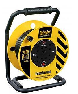 Cable Reel Defender E86515 50m 13A Heavy-Duty 230V