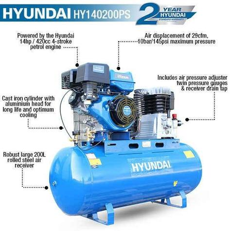 Air Compressor Hyundai HY140200PS Belt Drive Petrol Engine
