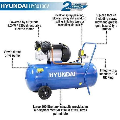 Air Compressor Hyundai HY30100V 14CFM Direct Drive
