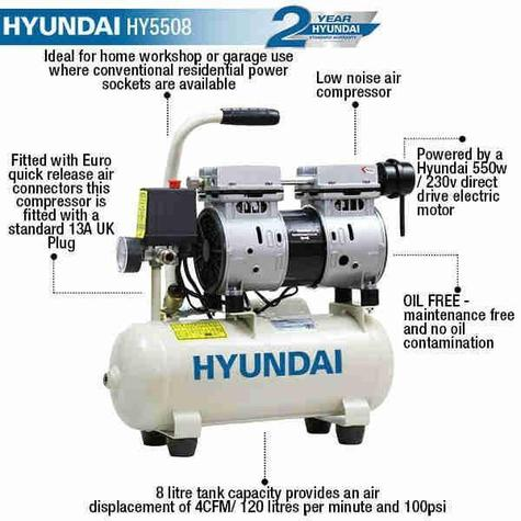 Air Compressor Hyundai HY5508 8 Litre Oil Free Direct Drive