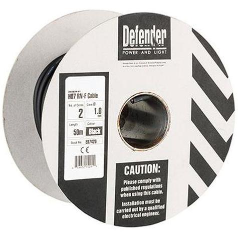 Defender E87420 1.0mm 50m 2 Core Rubber H07RN-F Cable 110V/230V