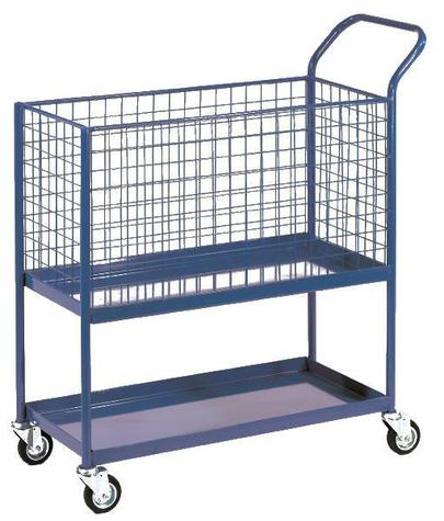 All steel order selecting trolley with mesh basket Hyprosteps OPB102