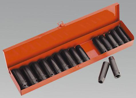 "Impact Socket Set Sealey AK685 16pc Deep 1/2""Sq Drive"