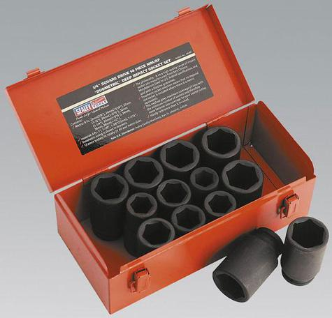 "Impact Socket Set Sealey AK687 13pc Deep 3/4""Sq Drive"