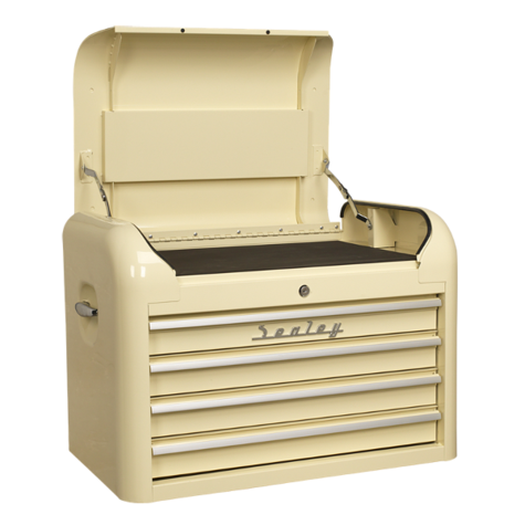 Tool Chest Sealey AP28104 Topchest 4 Drawer Retro Style Cream