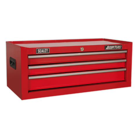 Tool Chest Sealey AP223 Mid-Box 3 Drawer Ball Bearing Slides - Red
