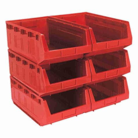 Storage Bin Sealey TPS56R Plastic - Red Pack of 6