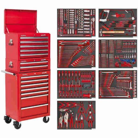 Tool Chest Combination Sealey TBTPCOMBO1 c/w 446pc Tool Kit - Red