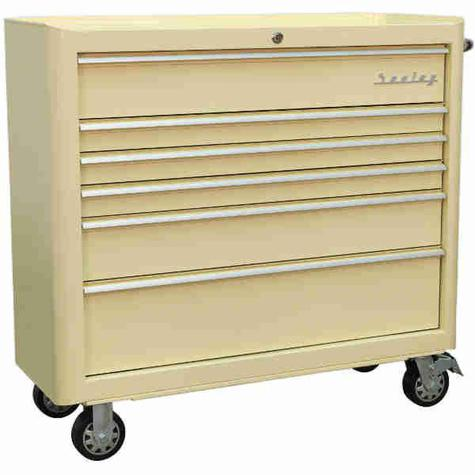 Tool Chest Sealey AP41206 Rollcab 6 Drawer Wide Retro Style - Cream