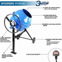 Cement Mixer Hyundai HYCM160 160 litre 240v 650w with text specifications
