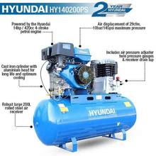 Hyundai HY140200PES Electric Start Petrol Air Compressor 29cfm, 14hp, 200L Litre Twin Cylinder Belt Drive with printed features