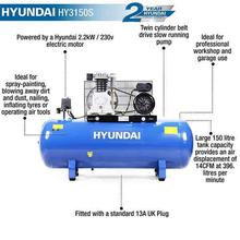 Air Compressor Hyundai HY3150S 150 Litre Twin Cylinder Belt Drive with text features
