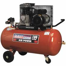 Sealey SAC0102B Compressor 100ltr Belt Drive 2hp with Cast Cylinder & Wheels