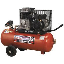 Sealey SAC0502B Compressor 50ltr Belt Drive 2hp with Cast Cylinder & Wheels