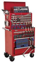 Sealey APCOMBOBBTK55 Tool Chest Combination 10 Drawer - Ball Bearing Runners - Red with 146pc Tool Kit