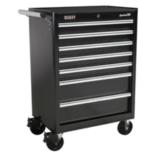 Sealey AP33479B Rollcab 7 Drawer with Ball Bearing Runners - Black