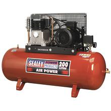 Sealey SAC42055B Compressor 200ltr Belt Drive 5.5hp 3ph 2-Stage with Cast Cylinders