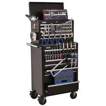 Sealey APCOMBOBBTK58 Topchest & Rollcab Combination 15 Drawer with Ball Bearing Runners - Black with 144pc Tool Kit