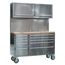 Sealey AP5520SS Mobile Stainless Steel Tool Cabinet 10 Drawer with Backboard