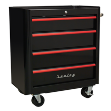 Sealey AP28204BR Rollcab 4 Drawer Retro Style- Black with Red