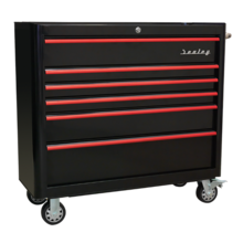 Sealey AP41206BR Rollcab 6 Drawer Wide Retro Style - Black with Red AP41206BR Rollcab 6 Drawer Wide Retro Style - Black with Red