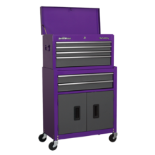 Sealey AP2200BBCP pchest & Rollcab Combination 6 Drawer with Ball Bearing Runners - Purple/Grey