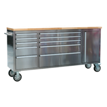 Sealey AP7210SS Mobile Stainless Steel Tool Cabinet 10 Drawer & Cupboard