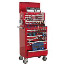 Sealey APCOMBOBBTK57 Tool Chest Combination 15 Drawer - Ball Bearing Runners - Red with 146pc Tool Kit