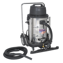Sealey PC477 Industrial Wet & Dry Vacuum Cleaner 77ltr Stainless Drum 2400W/230V Swivel Bin Empty
