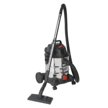 Sealey PC200SD Vacuum Cleaner Industrial Wet & Dry 20ltr 1250W/230V Stainless Bin