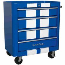 Tool Chest Sealey AP28204BWS Rollcab 4 Drawer Retro Style - Blue with White Stripes